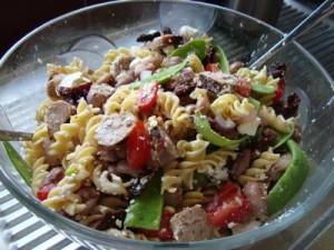 bean-pasta-sausage-salad