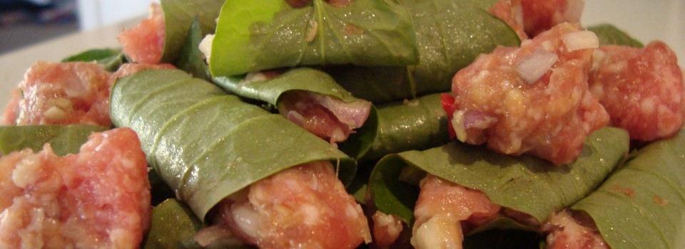 pork in betel leaves